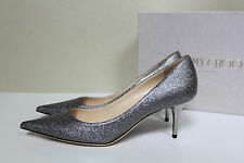 New sz 8 / 38 Jimmy Choo Aurora Silver Glitter Pointed Toe Low Heel Pump Shoes