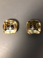 """Vintage Pair (2) of Amber Glass Hand Painted Ashtrays 3"""" x 3"""" Circa 1940's"""