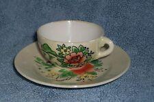 Vintage Tea Cup & Saucer Japan Flowers farm house barn hillside Porcelain China