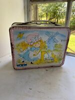 Vintage 1974 Thermos Polly Pal Pink & White Metal Childs Collectible Lunch Box
