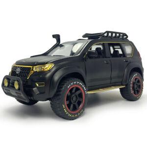 1:24 Toyota Prado SUV Off-road Model Car Diecast Toy Vehicle Sound Light Black