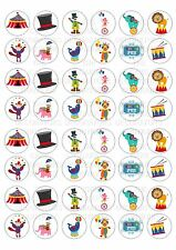48 Circus Wafer / Rice Paper Mini Cupcake Topper Edible Fairy Cake Bun Toppers