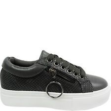 NEW WOMENS LADIES FLATFORM LACE UP TRAINERS PUMPS SHOES SIZE RUNNING ZIP SKATERS