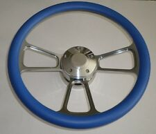 "SKY BLUE Half Wrap 14"" BILLET Steering wheel kit with Hub adaptor & Horn Button"