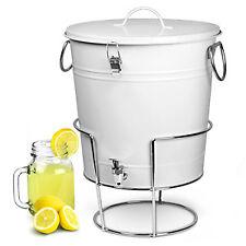 White Enamel Bucket Large Drinks Dispenser with Stand 17.5ltr   bar@drinkstuff