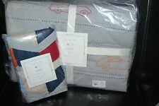 NWT Pottery Barn Kids Landon Gray Cars  Toddler Crib Nursery Quilt  and sham