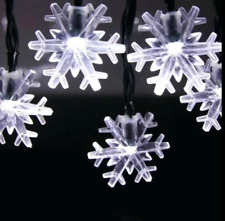 Set of 25 Pure White Led Snowflake M5 Christmas Lights