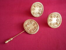 & Stick Pin 24K gold plated Galeria / La Cano Pre-Columbian Earrings