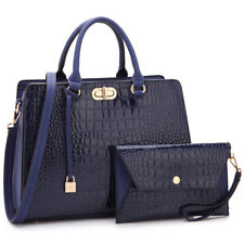 Women Large Croco Leather Satchel Bags Briefcase w/ Matching wallet Purse