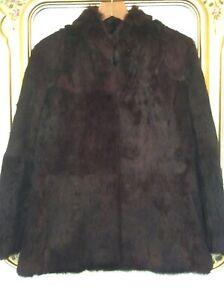 Ladies VINTAGE Real Fur DARK PLUM Jacket SIZE 12 Fully Lined
