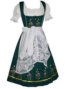 Sz 2 XS Green German Women Dirndl Dress Oktoberfest Party Waitress EMBROIDERED