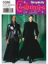 Simplicity Pattern 5386 D0801 Mens Teen Matrix Coat Duster Costume Neo 30 48
