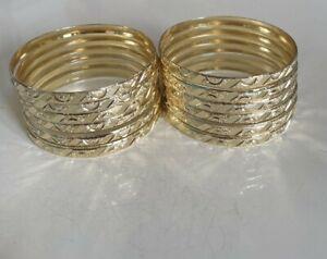 Baby 12PC Gold Finish Slip-on Diamond Cut Solid Bangle Bracelet # 1