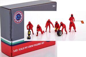 Pit Crew Figurine 7 Pcs Formula 1 Team Red Ferrari Decals 1:43 American Diorama