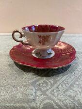 Vintage Alka Bavaria Demitasse Cup & Saucer 665 Red & Gold West Germany
