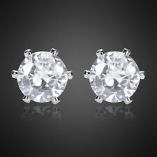 Xmas Fashion Round Fine Clear Topaz 18K White Gold Plated Gp Earring Earing