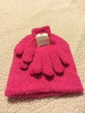 Faded Glory Girl's One Size Hot Pink Chenille Beanie & Glove Winter Set NWT