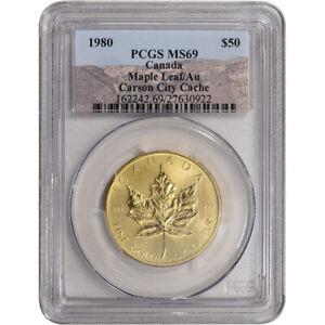 1980 Canada Gold Maple Leaf 1 oz $50 - .999 Fine - PCGS MS69 - Carson City Cache