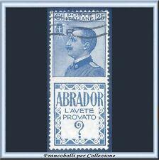 1924 Italia Regno Pubblicitari Abrador c. 25 azzurro n. 4 Usato
