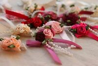 Triple Rose Bud Ribbon & Pearl Beads Cluster Large Choice of Colour