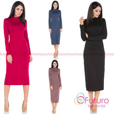 Ladies Simple Work Office Cowl Neck Long Sleeve Tea Length Fitted Dress FM33
