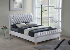"New Luxury Chesterfield 4ft 6"" Double White Leather Sleigh Bed."