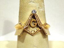 SOLID 14K YELLOW GOLD & DIAMOND MASONIC RING ~ SIZE 9 3/4