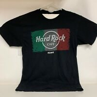 Genuine Hard Rock Cafe Rome Italy Flag Black T-Shirt, Men's Medium