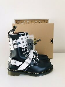 Dr Martens Joska Black White Studded Buckle Leather Boots Brand New In Box