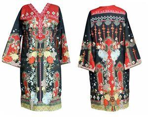 Ladies Indian Pakistani Kurti Kurta Cotton Kameez Dress Digital Print Tunic Top