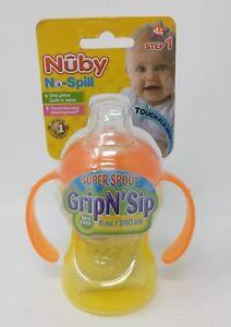 Nuby No Spill Grip N Sip Step 1 Super Spout Touch Flo Valve 8oz New