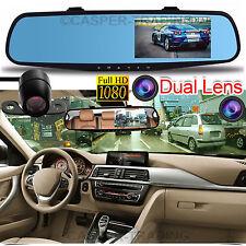 """Hd 1080P 4.3"""" dual lens dvr voiture dash cam caméra vidéo enregistreur retroviseur"""