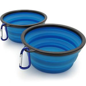 iGadgitz Home Large Foldable Travel Silicone Dog Bowl Food Water Feeding Dish -