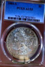 MORGAN SILVER DOLLAR 1884 S PCGS AU53+++++++ FROSTY LOOKS UNC