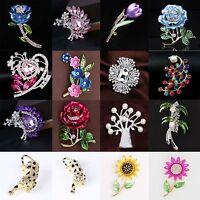 Elegant Women Wedding Party Rhinestone Crystal Flower Bouquet Brooch Pin Jewelry