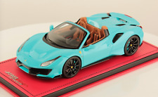1/18 MR Collection Ferrari 488 Pista Spider in Baby Blue on Leather Base