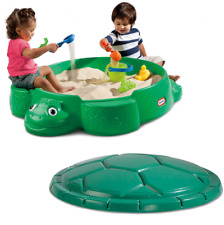 Kids Turtle Sandbox with Cover Round Green Plastic Backyard Play Little Tikes
