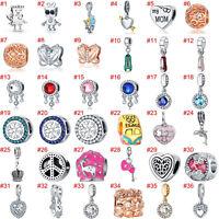 European Silver Flower Charms Bead Pendant CZ Fit 925 sterling Bracelet Necklace