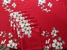 "Wilendur Red Dogwood Blossom Tablecloth & 6 Napkins Set 54"" x 65"" Vintage"