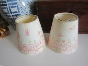 2 Green/Pink Embroidered Mini Anthropologie Lamp Shades Mini Clip On w/tags