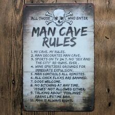 Metal Tin Sign MAN CAVE RULES Bar Pub Home Vintage Retro Poster Cafe ART