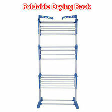 Blue 3 Tier Clothes Airer Laundry Drying Rack Outdoor Indoor Heavy Duty Horse