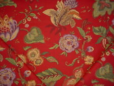 4-3/4Y JAY YANG GREEN / LAVENDER / ROSE FLORAL PRINT DRAPERY UPHOLSTERY FABRIC