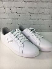 PUMA Leather Lace-up Sneakers Smash Cat Women Shoes Size 8M QVC White/Grey