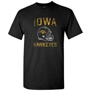 Iowa Hawkeyes Faded Football Helmet T Shirt - Black