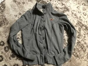 NWT Hollister Gray Button Down Soft Logo Sweatshirt Sweater Shirt-M-$88