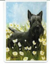 CD-1 swap playing card MINT cond SCENIC VIEW SCOTTIE DOG AND FLOWERS