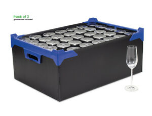 Pack of 3 - Champagne Flute Storage Boxes - 35 Cells - Divider Size H190xD65mm