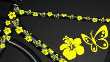 24-teiliges Fahrrad Hibiscus Aufkleber Hibiskus Blumen Schmetterlinge WANDTATTO1