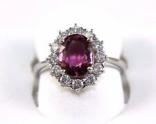 Fine Oval Pink Spinel Gemstone Ring w/Diamond Halo 14k White Gold 2.29Ct